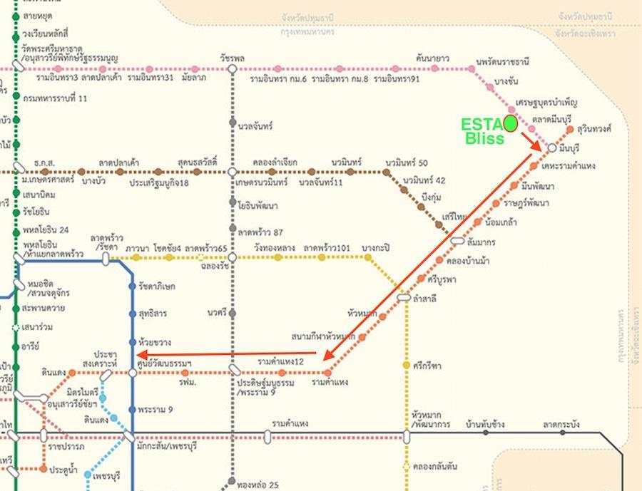 แผนที่รถไไฟ้าชมพูเชื่อมส้ม